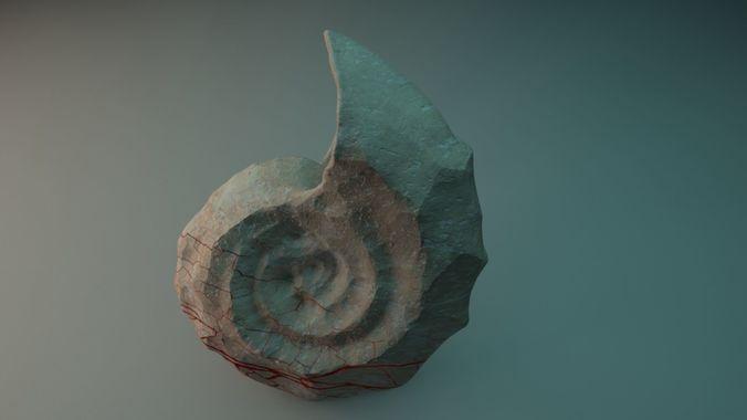 ancient petrified shell 3d model max obj mtl tga 1