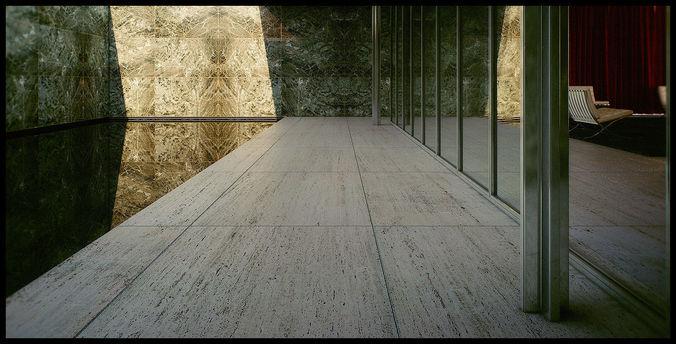 mies van der rohe barcelona pavilion - third - seventh 3d scene 3d model animated max fbx tga pdf 1