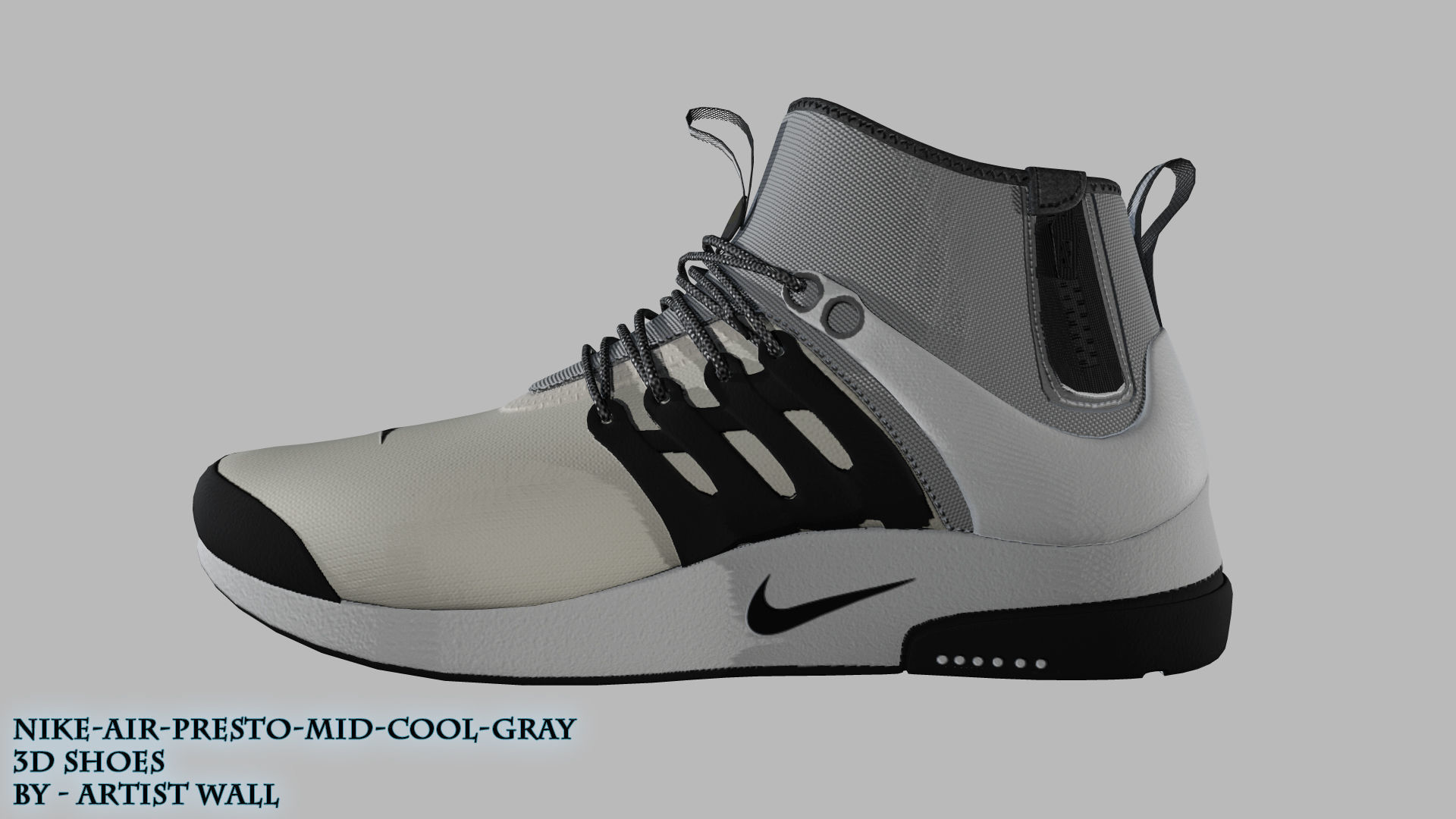 Air Nike Model3D Gray model 3D Mid Presto Utility Cool WH92EDIY