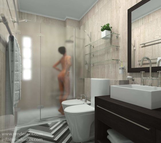 shower woman - high poly human people nude 3d model max 3ds skp 1