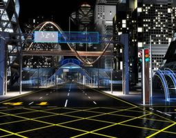 Future City HD 6 Night 3D model
