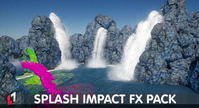 splash impact pack - unreal engine 4 3d model low-poly animated uasset 1