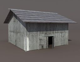 old barn 2 low poly 3d model game-ready