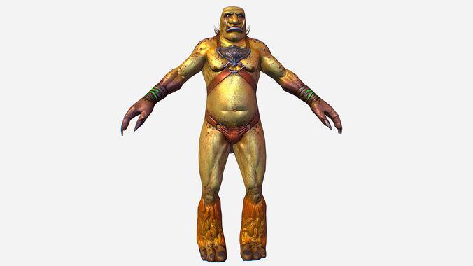 game mmo rpg character green troll org 3d model max obj mtl fbx ma mb tga 1
