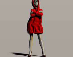 Pretty girl in a sweatshirt 3D printable model