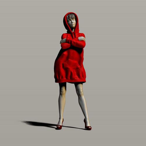 pretty girl in a sweatshirt 3d model obj mtl stl ztl 1