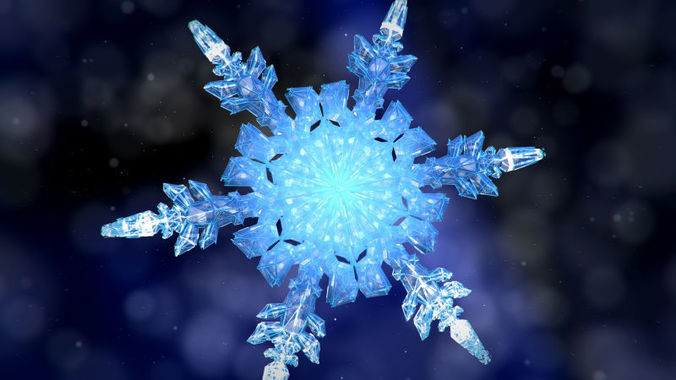snowflake growth animated 3d model and obj sequence 3d model max obj mtl fbx 1
