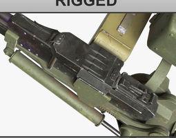 rigged 3D Russian Soviet machine gun T 72 UTES RIGGED