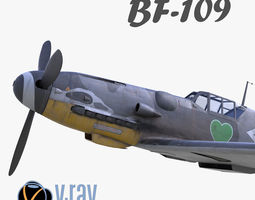 game-ready 3D model BF-109 German fighter V-Ray materials