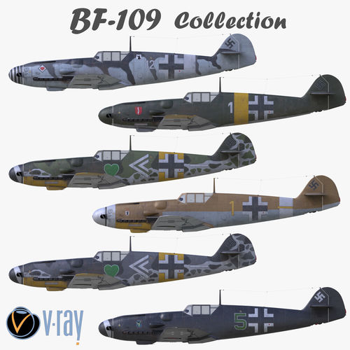3D Collection 3D model BF-109 German fighter VRay materials