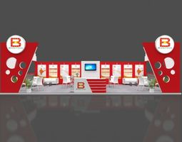 Exhibition stall 3d model 12x6 mtr 2 sides open Banthia 1