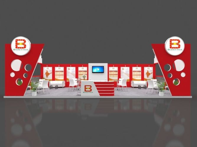 exhibition stall 3d model 12x6 mtr 2 sides open banthia stand 3d model max 1
