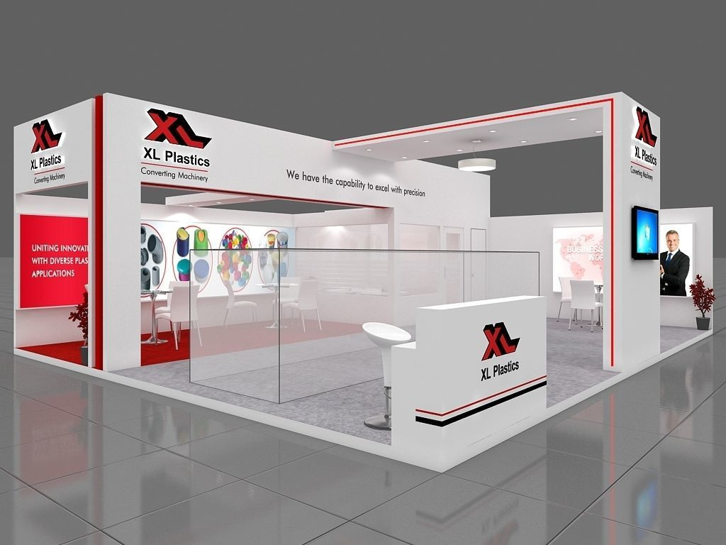 Exhibition Stall Arrangements : Exhibition stall 3d model 10x8 mtr 2sides open 2