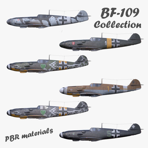 Collection 3D model BF-109 German fighter PBR materials model