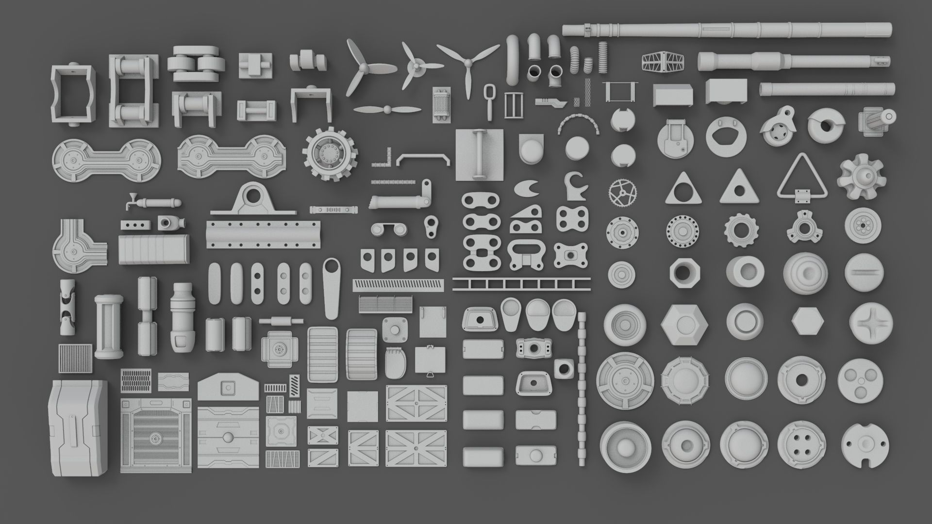 Hard Surface Sci-Fi Industrial KitBash Library 01 | 3D model