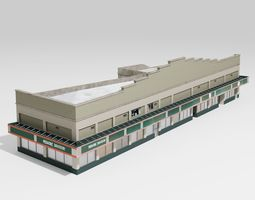 3D model low-poly Uptown Cafe and Crepe