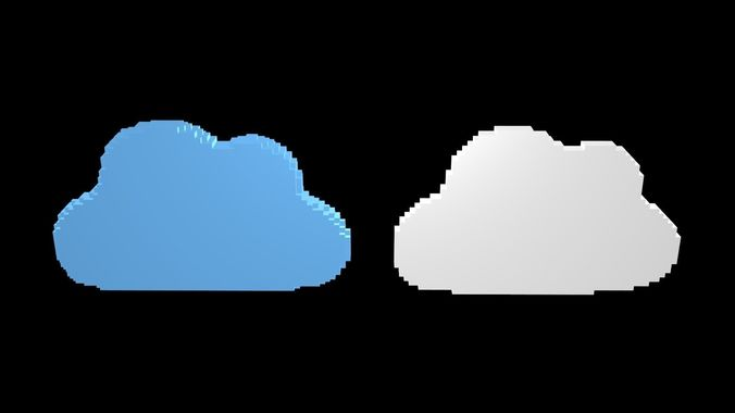 Cloud Symbols Voxel 1 3d Model Obj 3ds Fbx Stl Blend Mtl