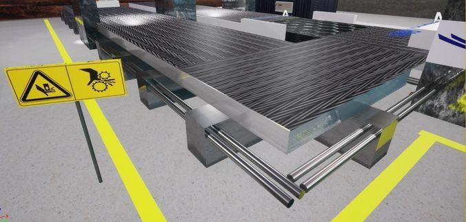 3d realistic conveyor 3d model obj mtl fbx stl 1