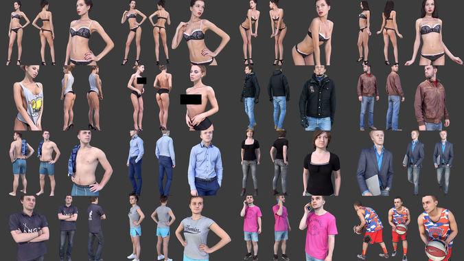 photorealistic people 3d model max obj mtl fbx stl tga 1