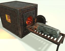 3D asset Low Poly Vintage Cremation Furnace With PBR