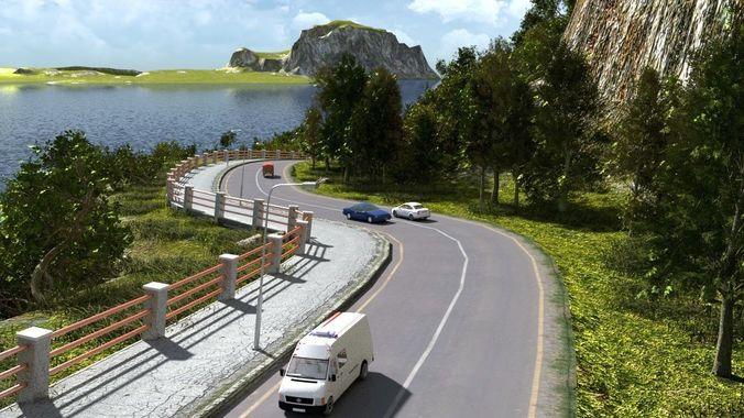 coastal road in blender 3d model blend 1