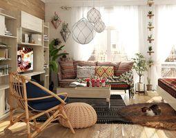 photoreal bed Bedroom 3D model
