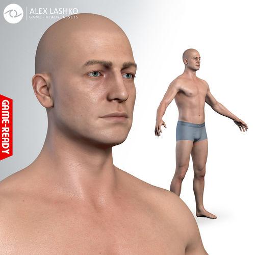 average caucasian male body 3d model obj mtl fbx ma mb ztl tbscene tbmat 1