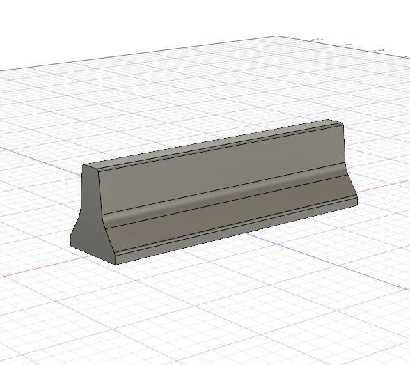1-32 Scale concrete jersey barrier for print