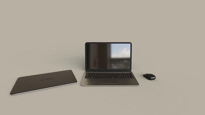 modern laptop set 3d model obj mtl 3ds fbx stl blend dae 1