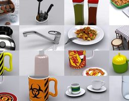 Kitchenware and some Foods 3D model