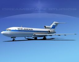 3d model rigged boeing 727-100 iceland air