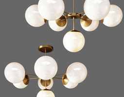 3D model SUSPENDED LAMP COPPER LIGHT CHANDELIER 7