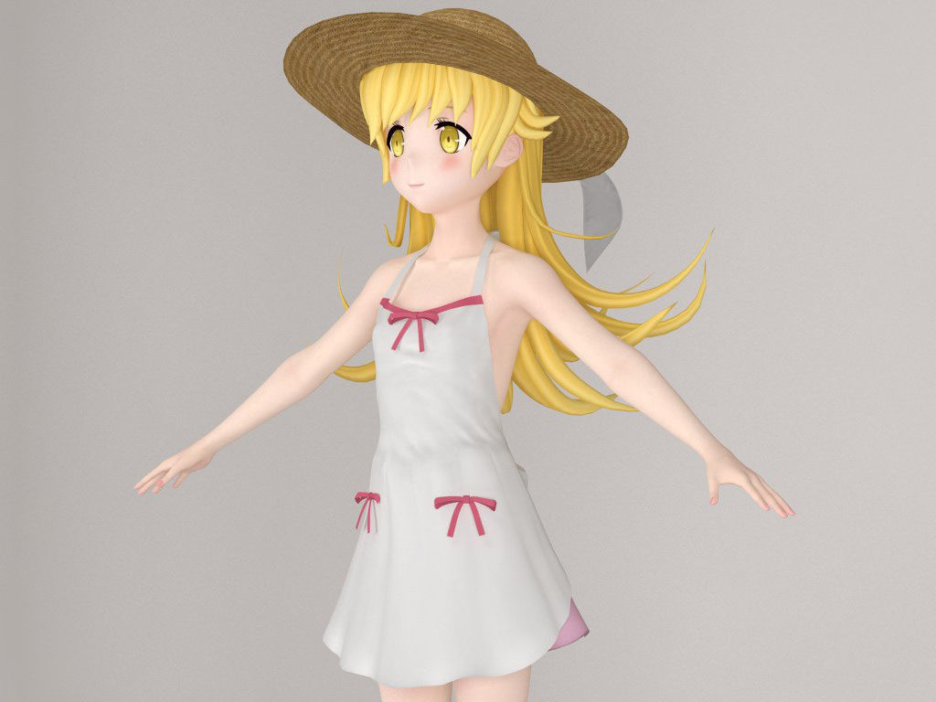 T pose nonrigged model of Shinobu anime girl female