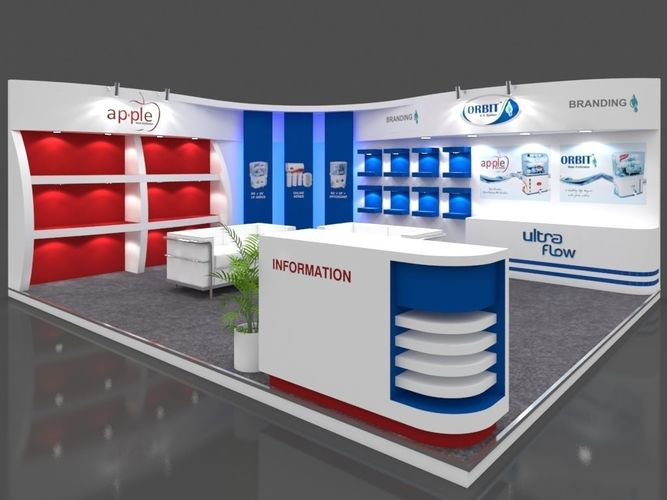 exhibition stall 3d model 6x5 mtr 2sides open apple ro booth 3d model max 1