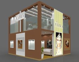 Exhibition stall 3d model 6x6 mtr 3sides open Vajra 1