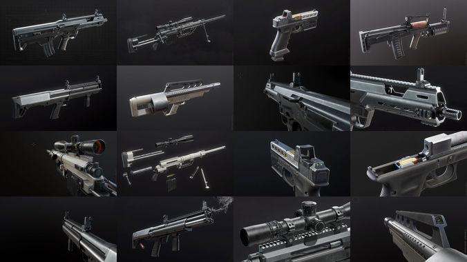 first-person weapon pack 3d model max obj mtl 3ds fbx tga unitypackage prefab 1