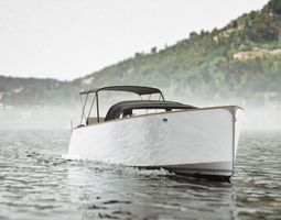 Realistic boat with wake animation using texture 3D model