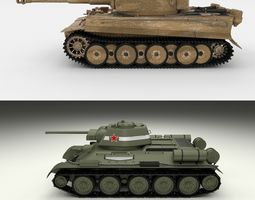 3D T34-76 Tiger Tank Early Pack