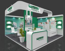 Exhibition stall 3d model 5x5 mtr 2sides open Packaging