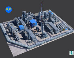 Refinery 3D model game-ready