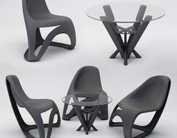 3D model modern chairs table