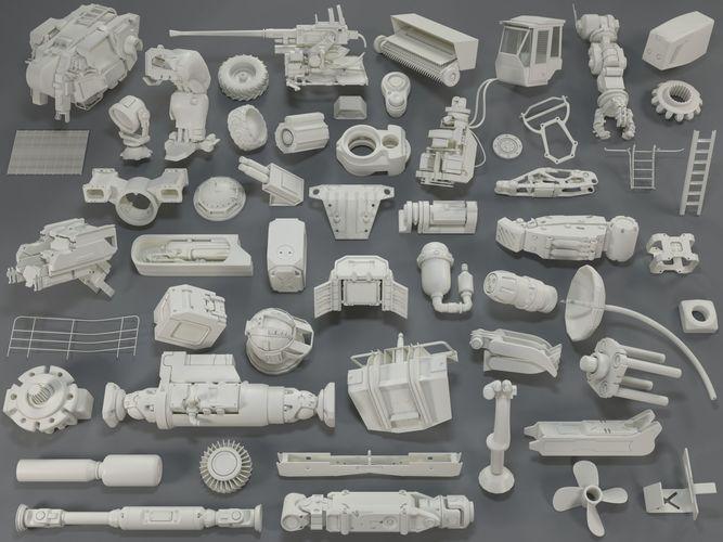 kit bash - 54 pieces - collection-17 3d model max obj mtl fbx stl 1