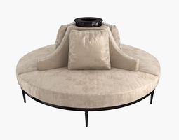 Custom Hand Made Center Round Settee Banquette 3D model