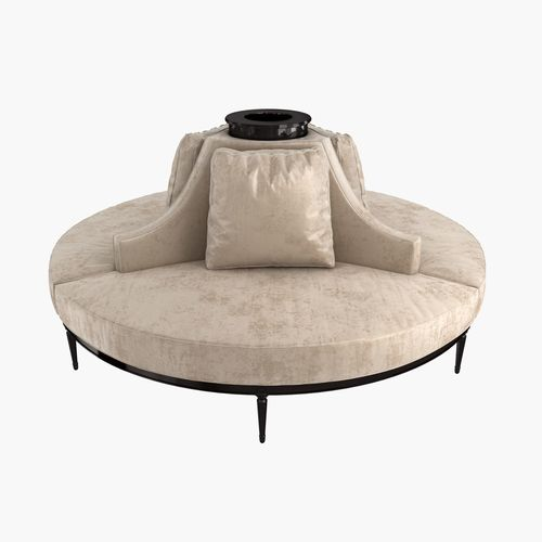 Banquette Couch: Custom Hand Made Center Round Settee Banquette 3D Model