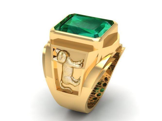 775 zodiac cat men ring 3d model stl 3dm 1