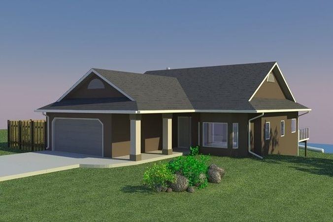3d model home with walkout basement cgtrader for Bungalow with walkout basement