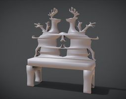 Unique Chair with Deer Ornament motif 3D printable model
