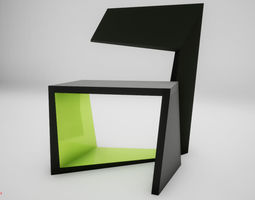 3D asset VR / AR ready Modern chair balck