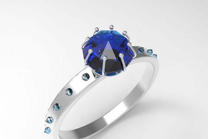 diamond ring 3d model low-poly animated obj mtl sldprt sldasm slddrw ige igs iges 1