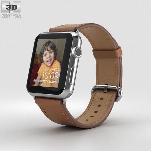 apple watch series 2 42mm stainless steel case saddle brown 3d model max obj mtl 3ds fbx c4d lwo lw lws 1